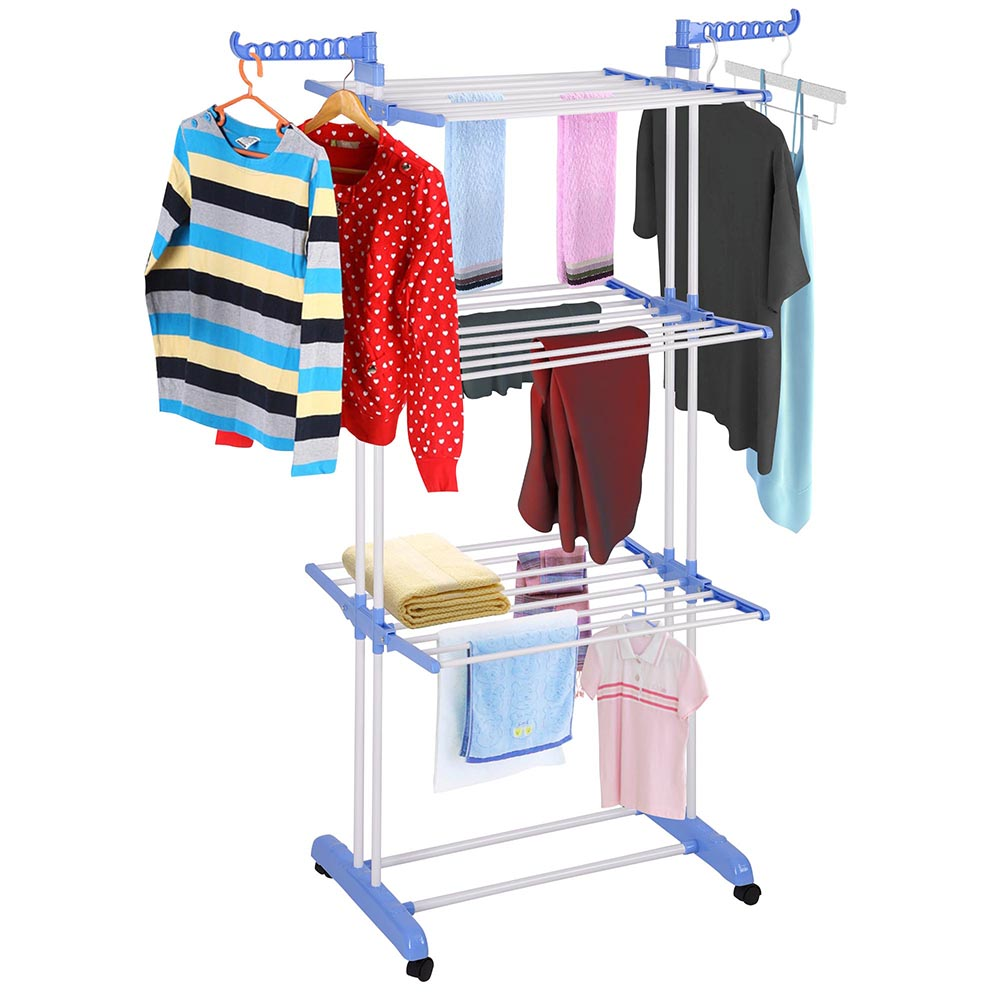 Foldable Laundry Dryer Rack Wheeled 3 Layer Stainless Steel Clothes