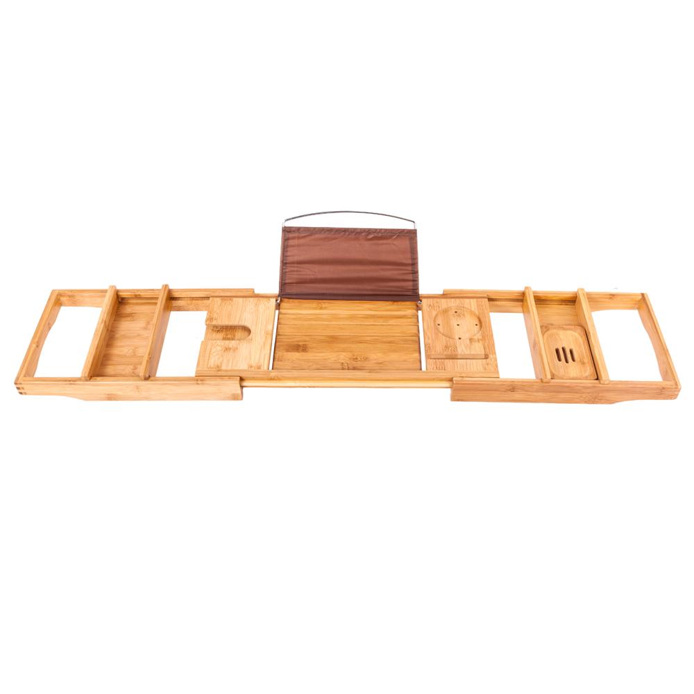 Portable Expandable Bathtub Rack Bamboo Shelf Shower Tub Book Glass ...