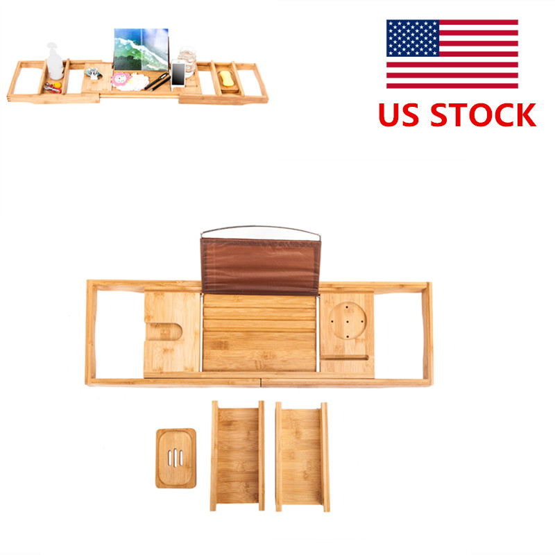 Portable Expandable Bathtub Rack Bamboo Shelf Shower Tub Book Glass ...
