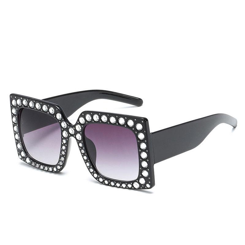 Womens Fashion Bling Rhinestone Glasses Oversized Square Frame ...