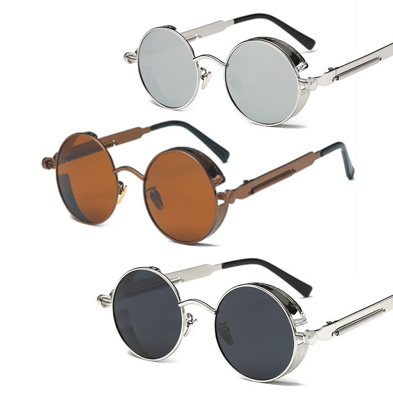 Round Polarized Cool Vintage Sunglasses Details About Mirrored Lens Glasses Steampunk Retro TF1lJcK