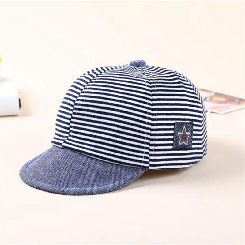 Baby Boy Autumn Hats Striped Soft Cotton Eaves Baseball Cap Sun Hat ... e17e94c8a03