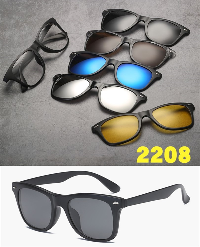 ca0477499f3 2018 NEW Men s 5 in 1 Magnetic Lens Swappable Sunglasses Fashion ...