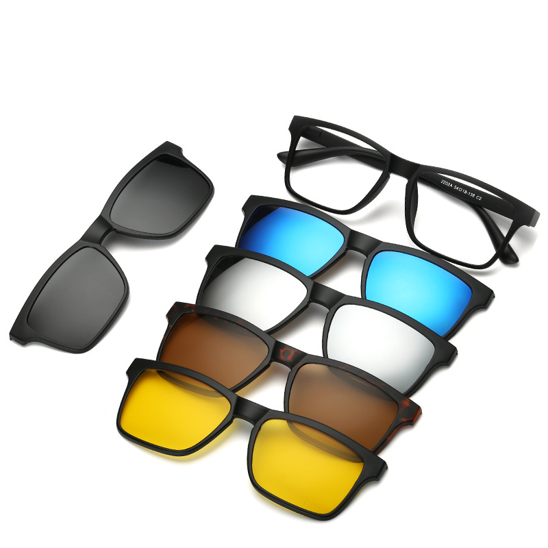 1ac7f85663 5 in 1 Magnetic Lens Swappable Spectacle Frame 5 Clip Retro Polarized  Sunglasses