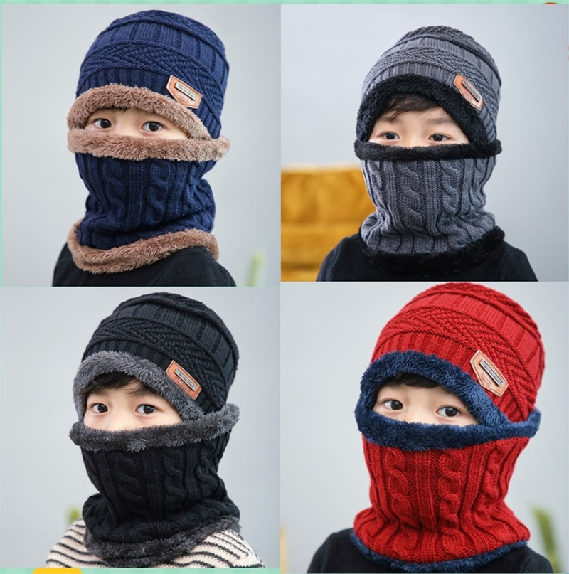 4f451ae5a85 Details about Winter Warm Knitted Crochet Beanie Hat Cap Scarf Set Baby  Toddler Kids Boy Girl