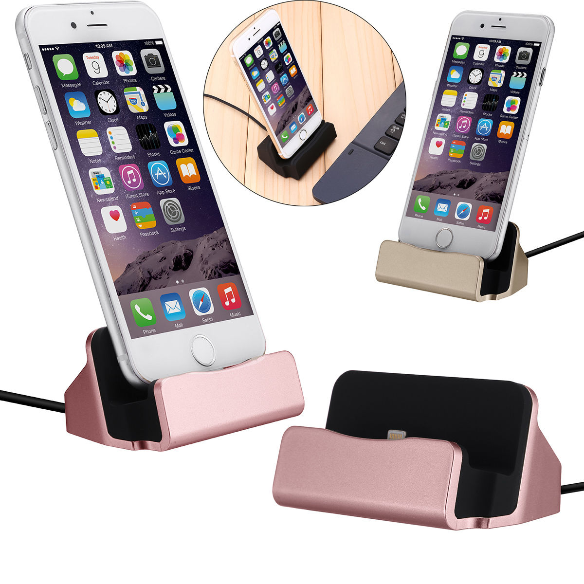 Details about Desktop Charger Stand Dock Station Sync Charge Cradle For iPhone 5s 6 6s 7 Plus
