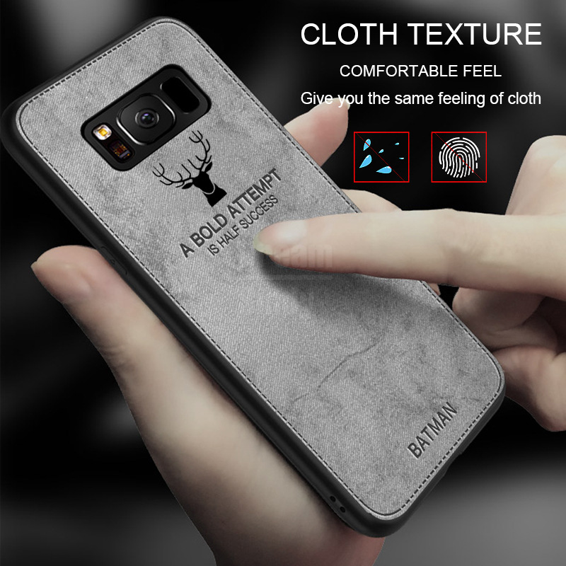 8b57768c4 Details about Canvas Deer Silicone Cloth Soft TPU Case For Samsung Galaxy  Note 9 S8 S9 Plus