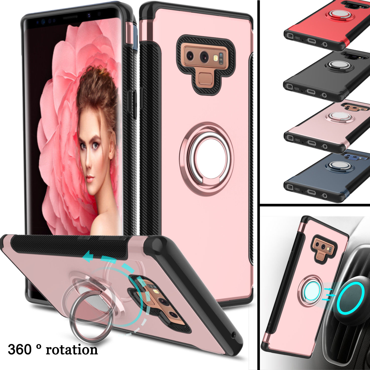 Shockproof Ring Holder Hybrid Hard Phone Case Cover For Samsung Galaxy S8 Plus