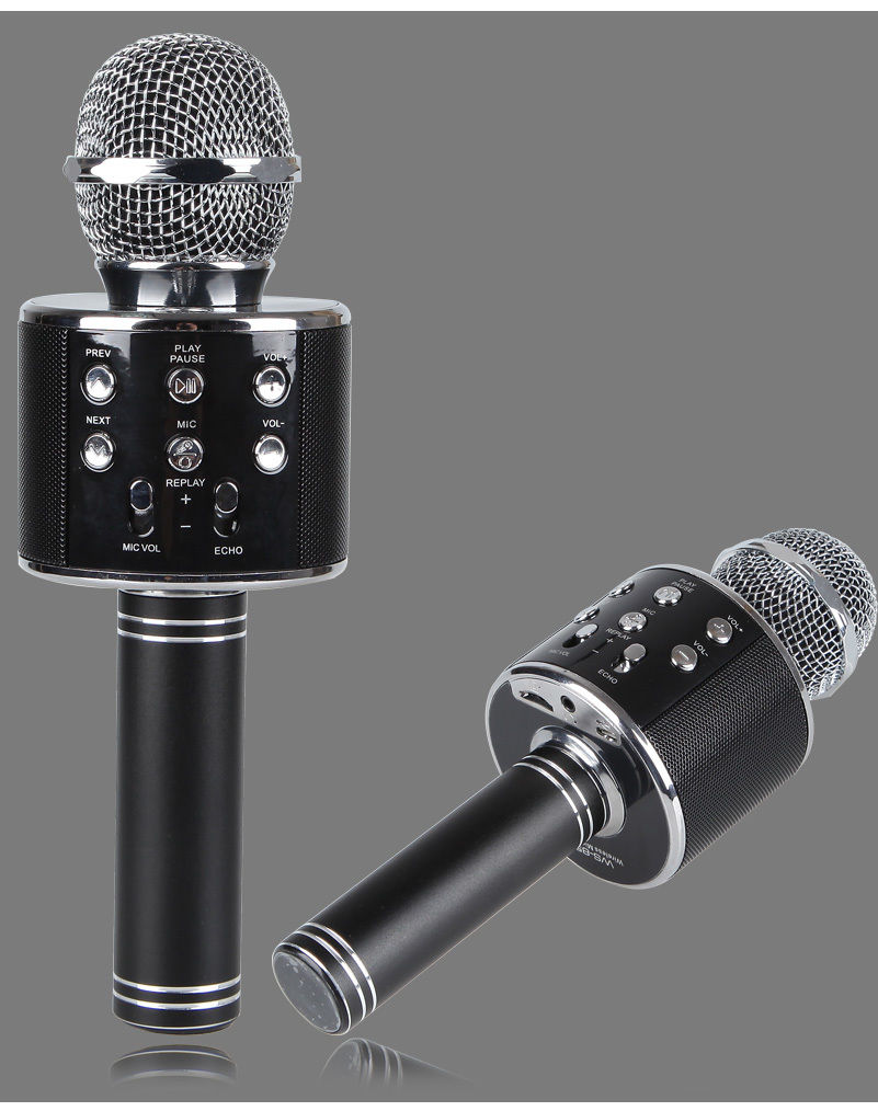 new ws858 metal wireless bluetooth portable microphone singing speaker music ktv ebay. Black Bedroom Furniture Sets. Home Design Ideas