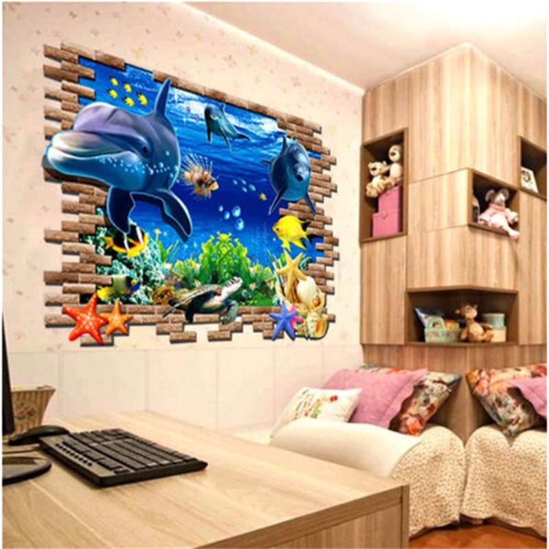 Image Is Loading 3D Ocean Dolphins Removable Wall Sticker Vinyl Decal