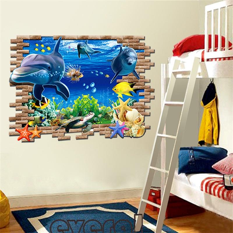 Image Is Loading 1Pc Cute 3D Ocean Dolphins Wall Sticker Vinyl