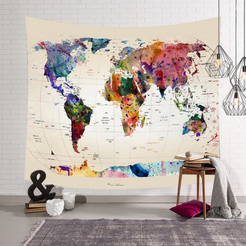 Boho World Map Indian Tapestry Wall Hanging Mandala Art Fabric Home ...