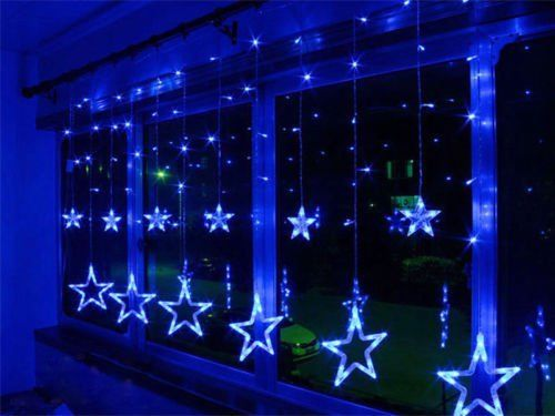 Star Shaped Led Lights String Curtain Window Bedroom Xmas