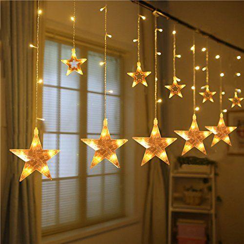 Led Bedroom Lights Decoration: Star Shaped Led Lights String Curtain Window Bedroom Xmas