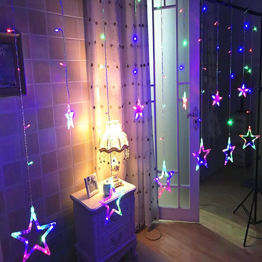 star shaped led lights string curtain window bedroom xmas. Black Bedroom Furniture Sets. Home Design Ideas