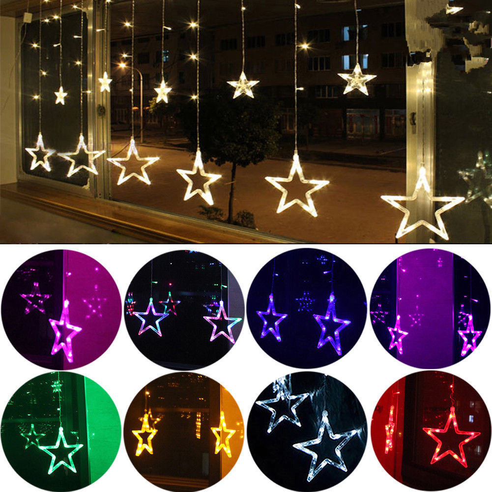 star shaped led lights string curtain window bedroom