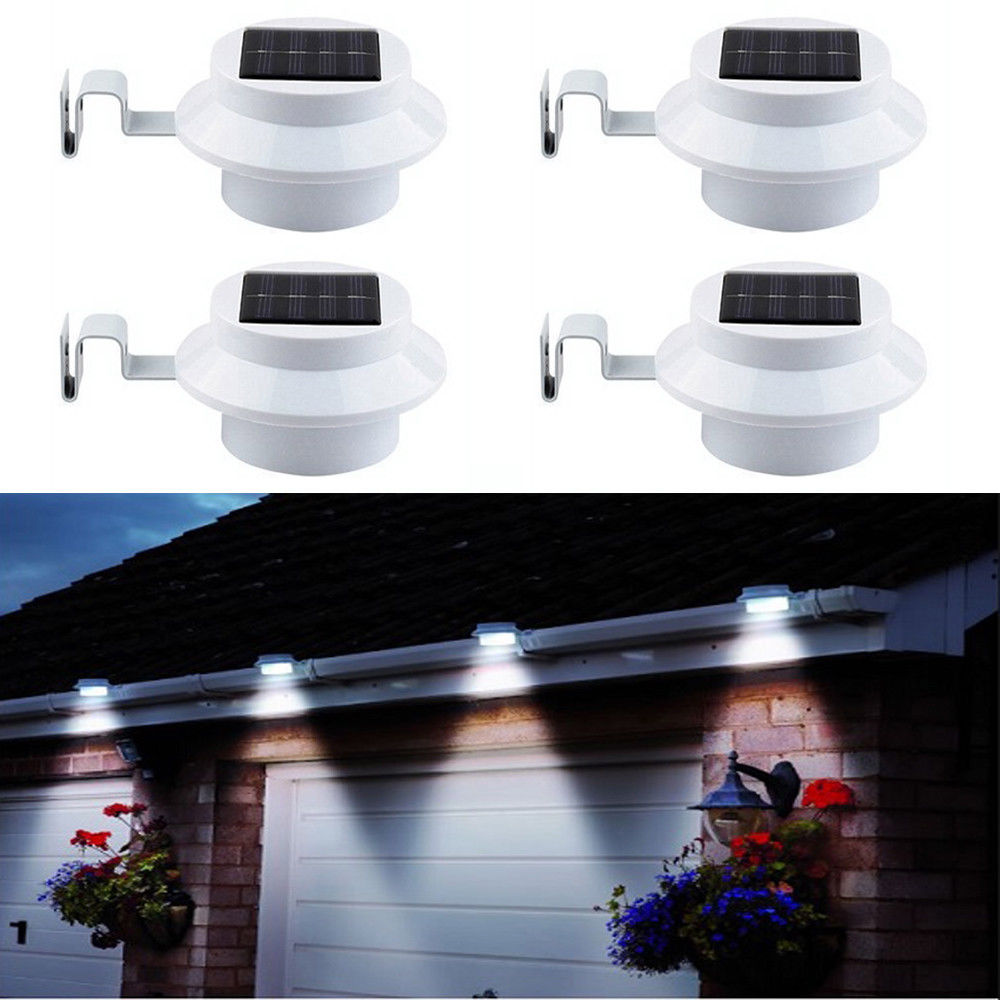 White 10X Outdoor Solar Fence Light Powered 3 LED Gutter Garden Lamp Lighting UK