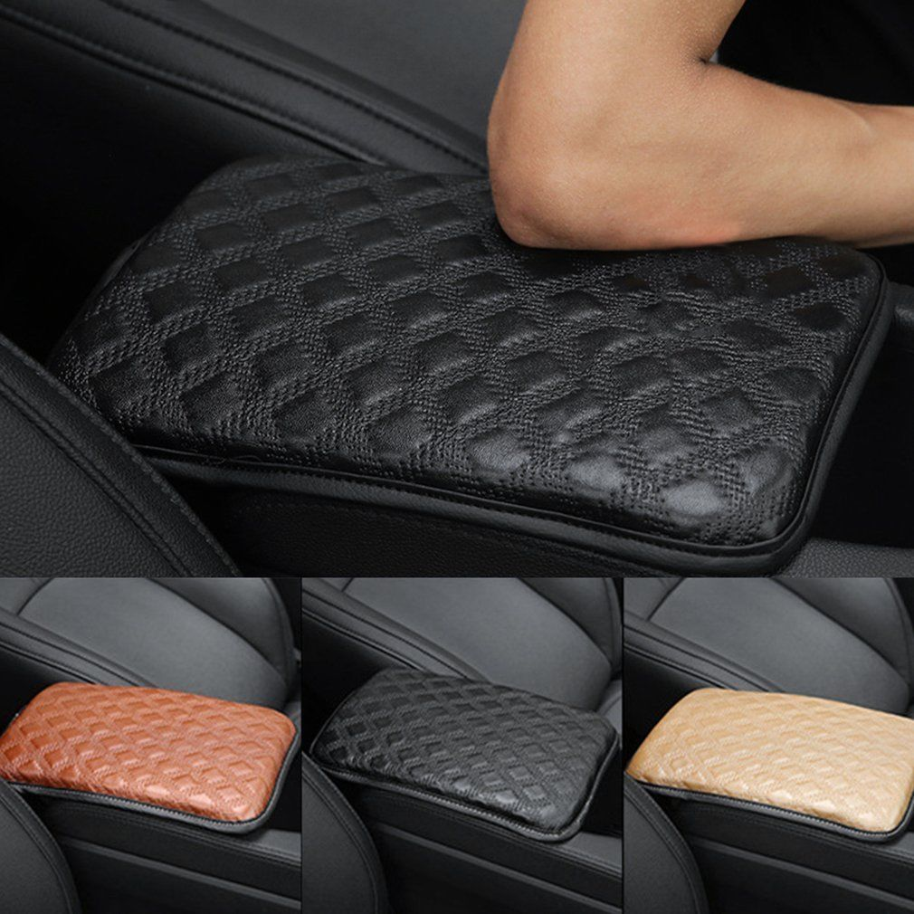 Universal Car SUV Armrest PU Leather Pad Cover Center Console Box Cushion