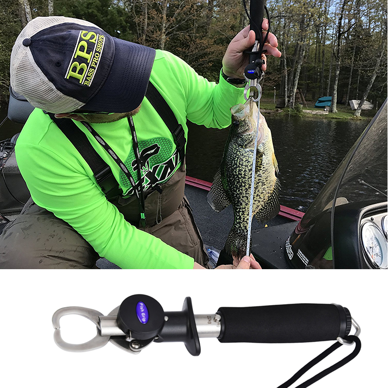 Fish Lip Grip Gripper With Scale /& Ruler Fishing Grab Grabber With Tape Measure