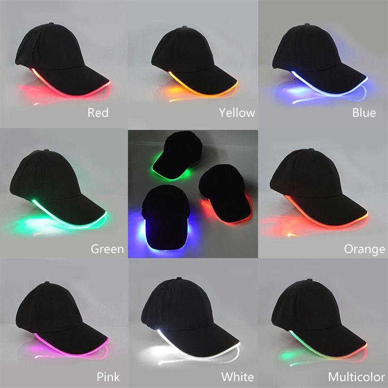7f35a8432fe8c Details about Creative LED Light Baseball Hat New Punk Style Luminous Cap  Fiber Snapback Hats