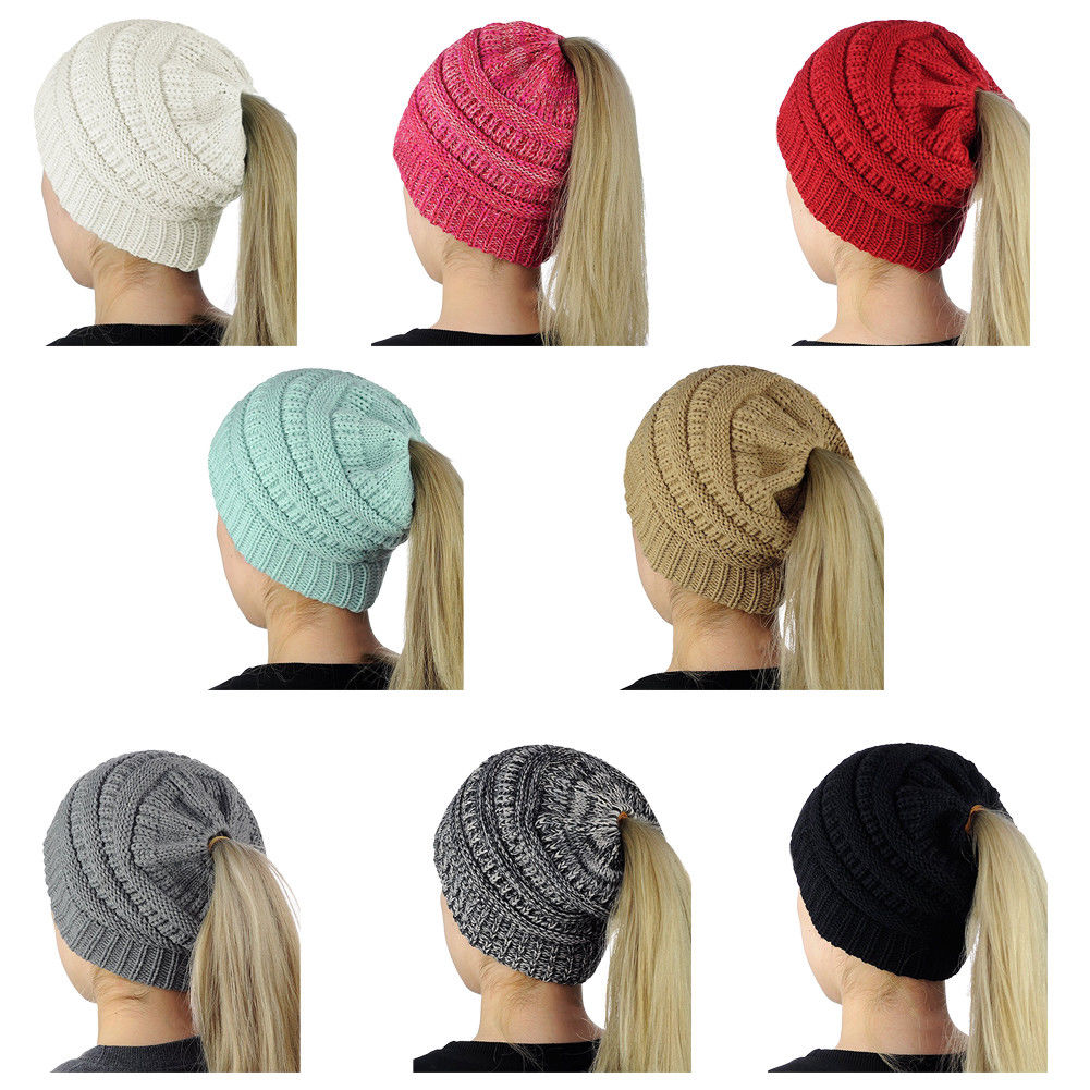 00d62c9cbf68a Details about New Beanietail Messy High Bun Ponytail Stretchy Knit Beanie  Skull Women Hats Hat