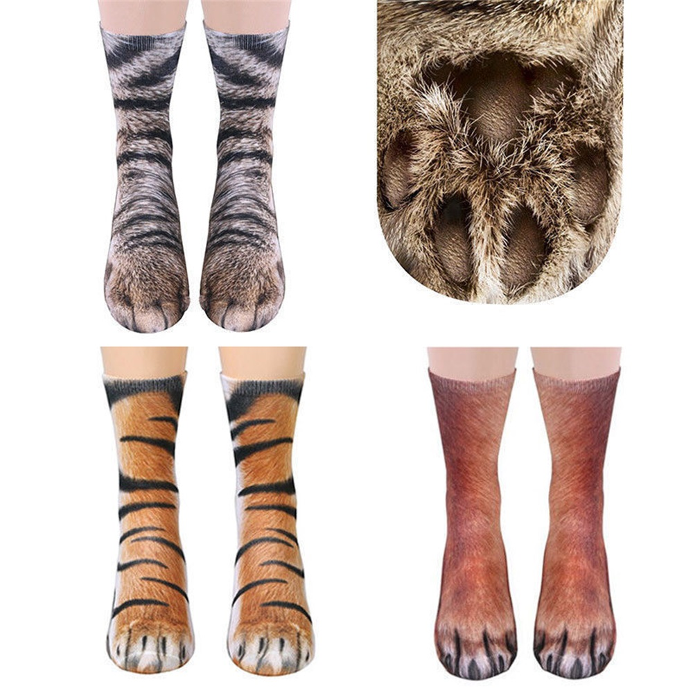 Adult Animal Paw Crew Socks Women Men Unisex Cotton Socks Funny Printed Socks