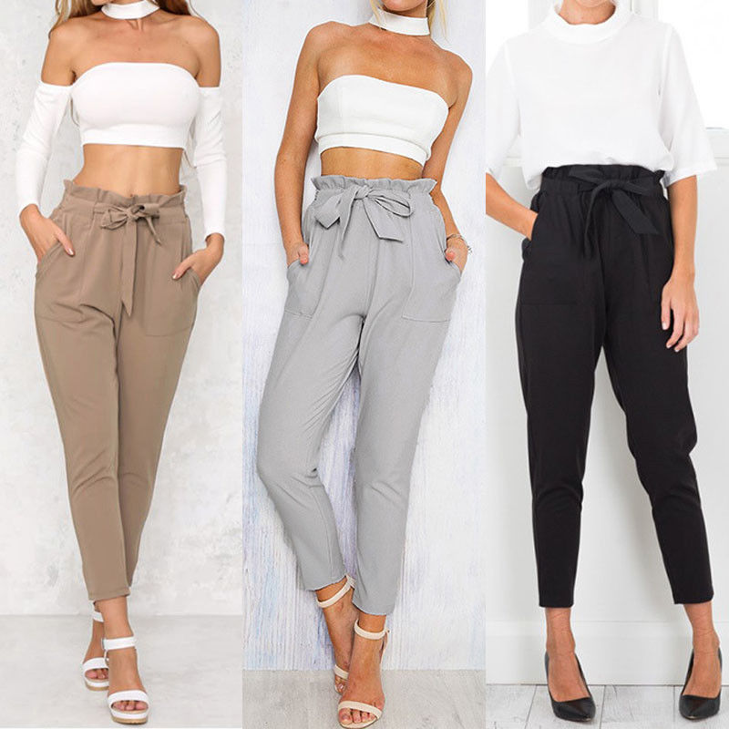 Women High Waist Casual Drawstring Elastic Long Pants Lady Pencil Trousers UK