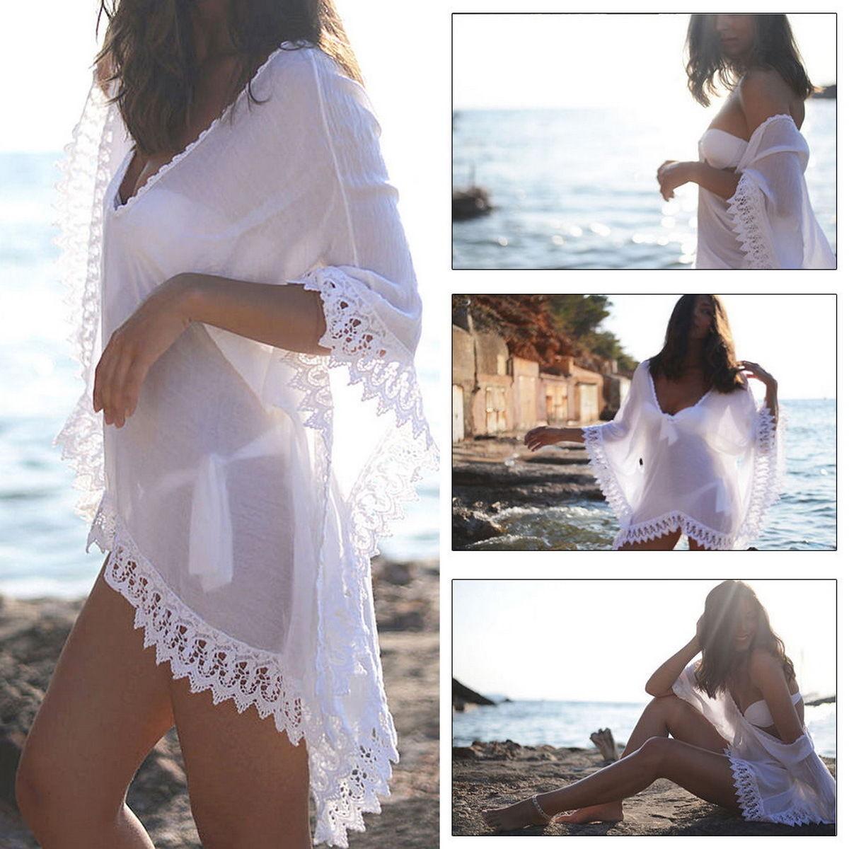 8695360c02 Summer Bikini Cover Up Sarong Dress Swimwear Kaftan Lace Crochet Beach Wear