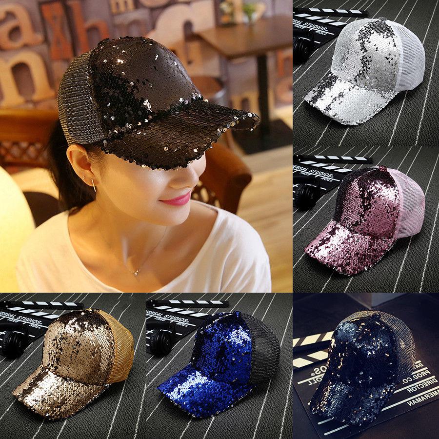 d622ae9b8d57f Fashion Women Ponytail Baseball Cap Sequins Shiny Messy Bun Snapback Hat  Sun Cap