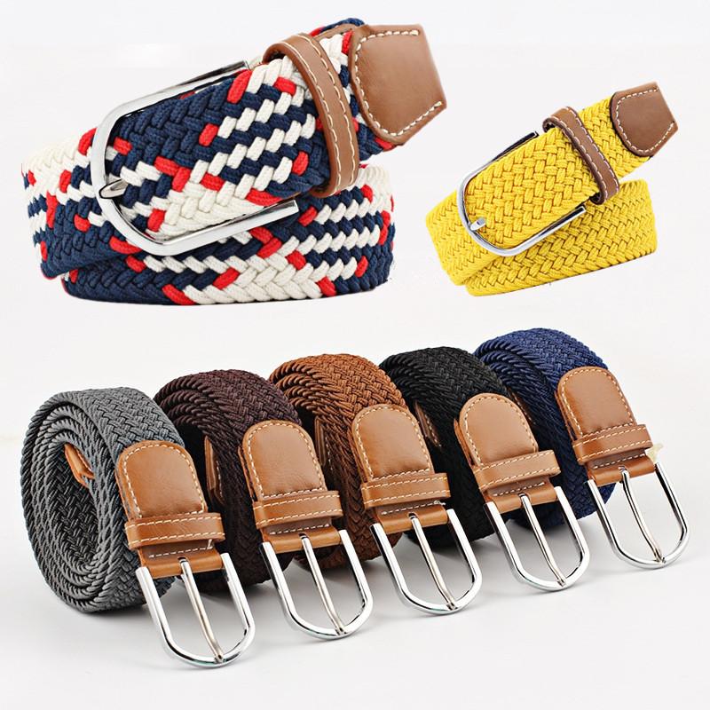 Men/'s Stretch Braided Elastic Woven Canvas Buckle Belt Waistband Waist Straps
