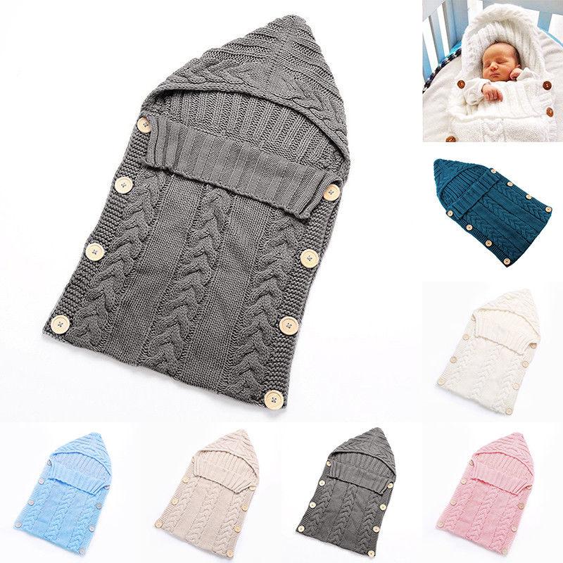 Baby Knit Crochet Swaddle Wrap Newborn Swaddling Blanket Warm