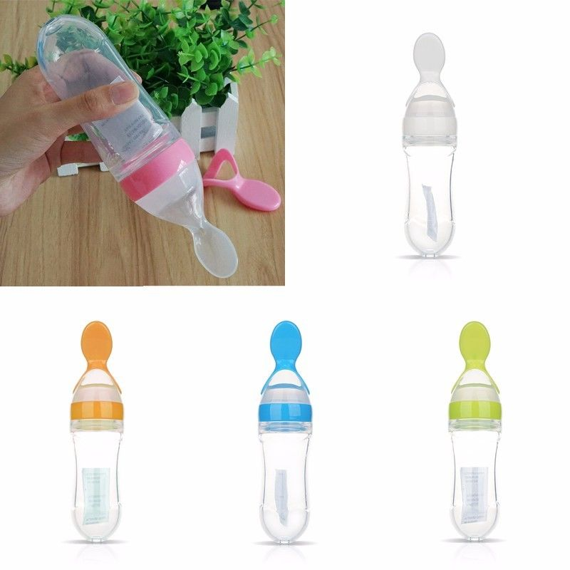1pc Baby Silicone Squeeze Feeding Bottle With Spoon Food Rice Travel Bottle YU