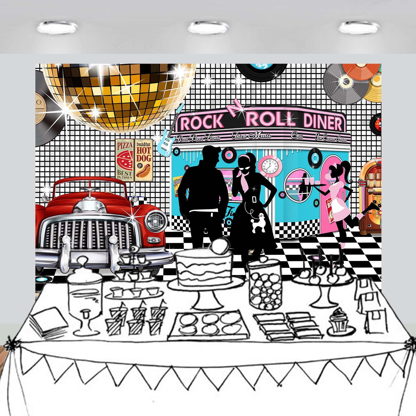 Details About 50s Rock N Roll Diner Backdrop Party Decoration Photography Background 7x5 Feet