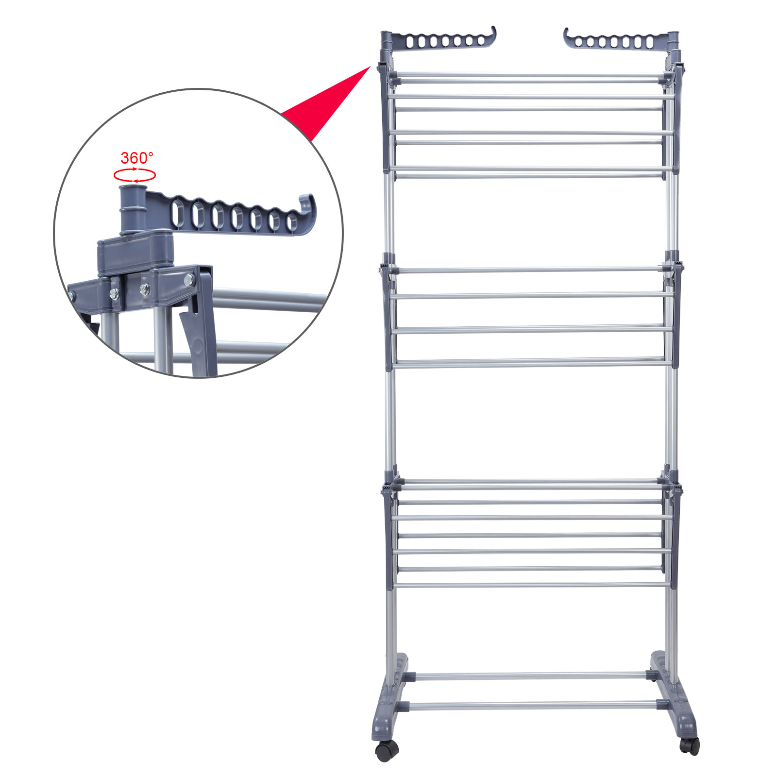 Stainless Foldable 6 Tiers Clothes Hanger Laundry Drying