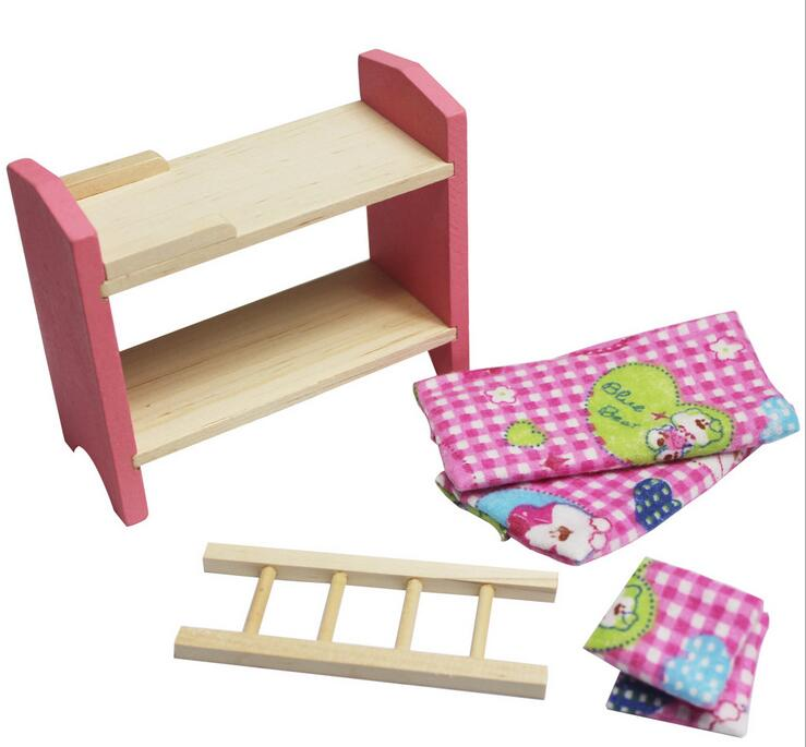 Kids-Wooden-Furniture-Dollhouse-Miniature-Sets-Dolls-Girls-Xmas-Birthday-Gifts thumbnail 2