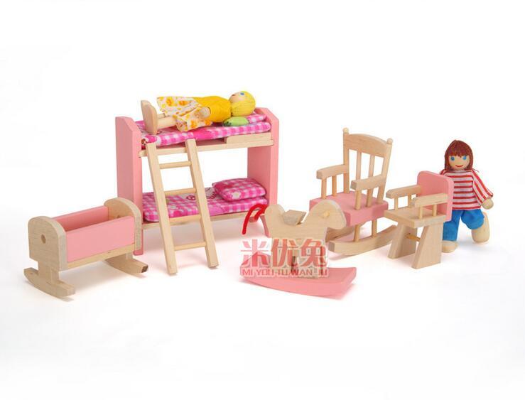 Kids-Wooden-Furniture-Dollhouse-Miniature-Sets-Dolls-Girls-Xmas-Birthday-Gifts