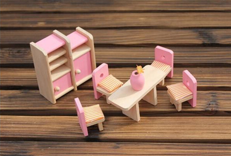 DollHouse-Wooden-Miniature-Dining-Room-Mini-Toy-Set-Girls-Xmas-Birthday-Gifts thumbnail 2