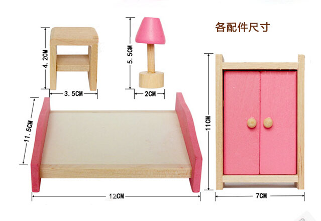 Mini-Wooden-Doll-House-Furniture-Bedroom-Girls-Birthday-Xmas-Gift thumbnail 6