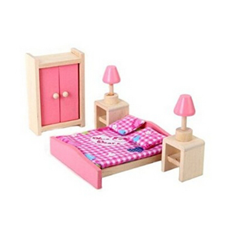 Mini-Wooden-Doll-House-Furniture-Bedroom-Girls-Birthday-Xmas-Gift
